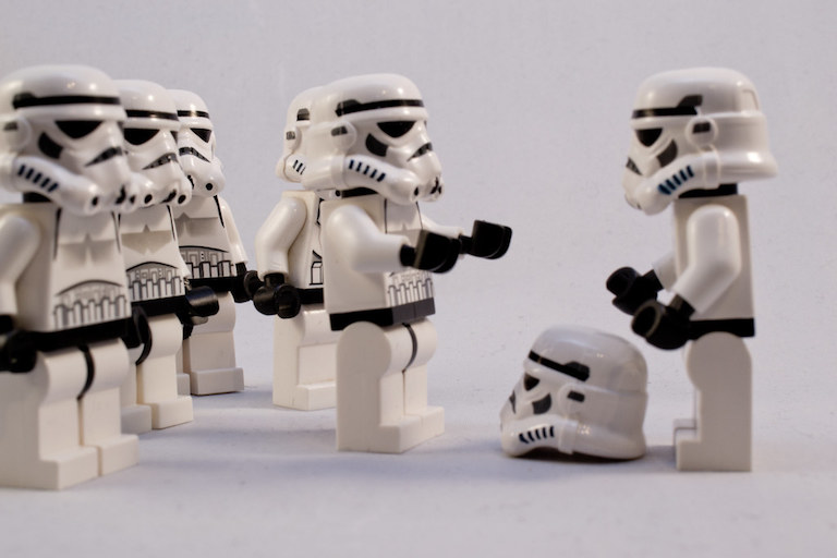 Lego stormtroopers struggling with questions about identity