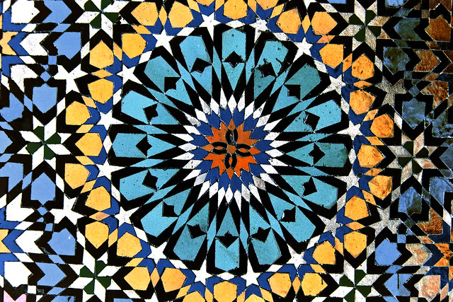 Tiles on the Mosque of Moulay Idress, Morocco